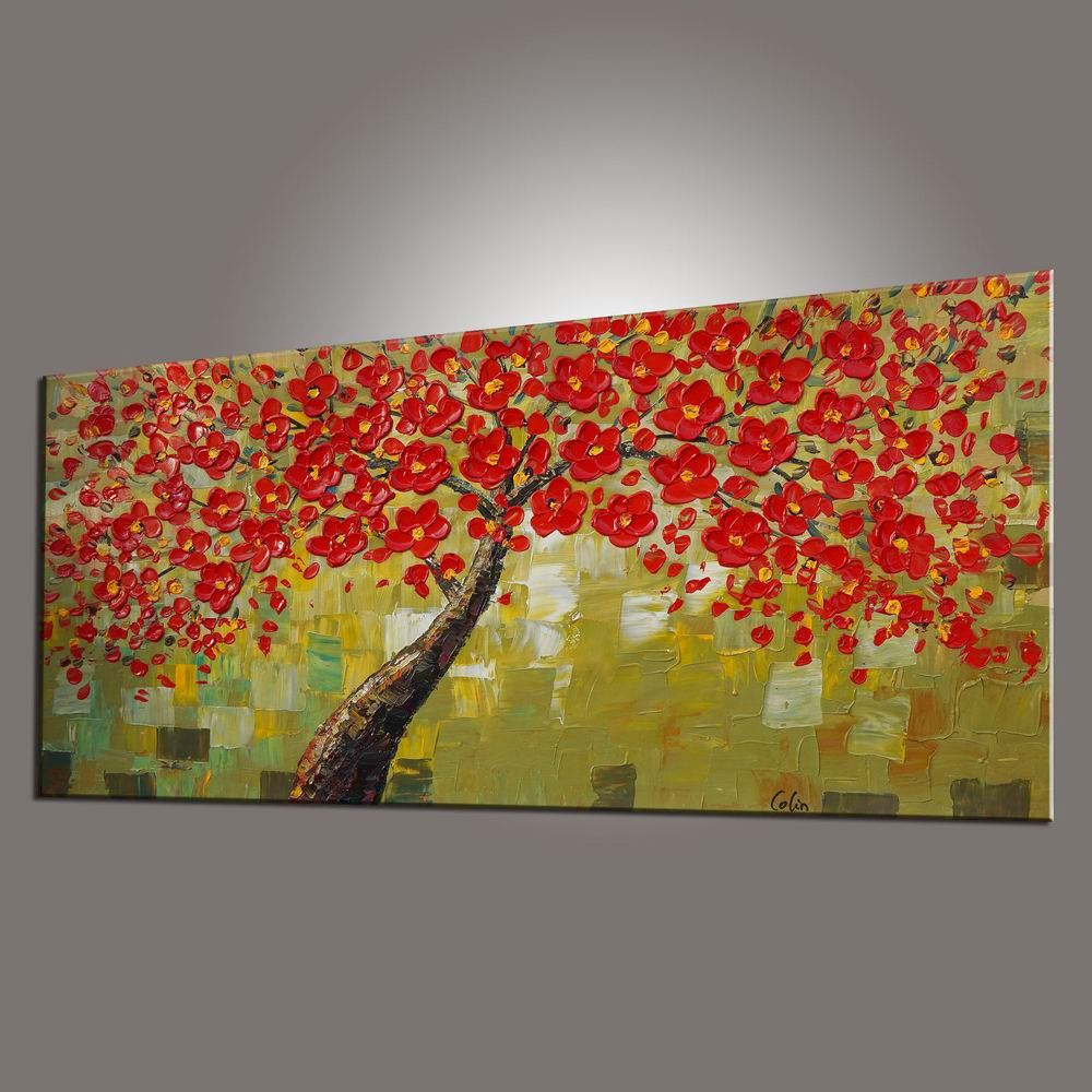 Flower Tree Painting, Floral Painting, Bedroom Wall Art, Abstract Painting, Large Art, Canvas Art, Wall Art, Canvas Painting, 438