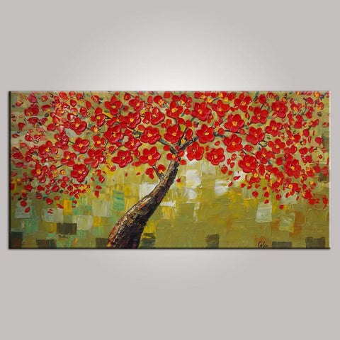 Flower Tree Painting, Floral Painting, Bedroom Wall Art, Abstract Painting, Large Art, Canvas Art, Wall Art, Canvas Painting, 438 - artworkcanvas