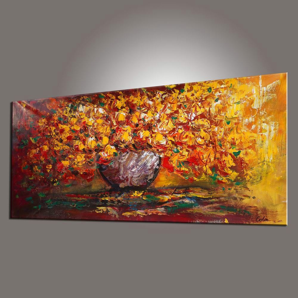Flower Painting, Floral Painting, Dining Room Wall Art, Abstract Painting, Large Art, Canvas Art, Wall Art, Canvas Painting, 439