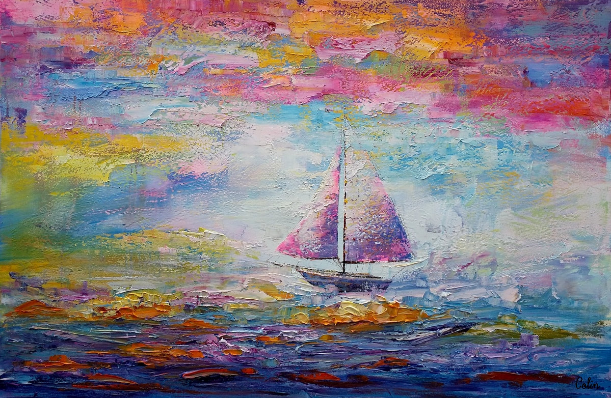 Sail Boat Painting, Large Art, Canvas Painting, Large Painting, Canvas Art, Wall Art, Abstract Art, Abstract Painting, Landscape Painting