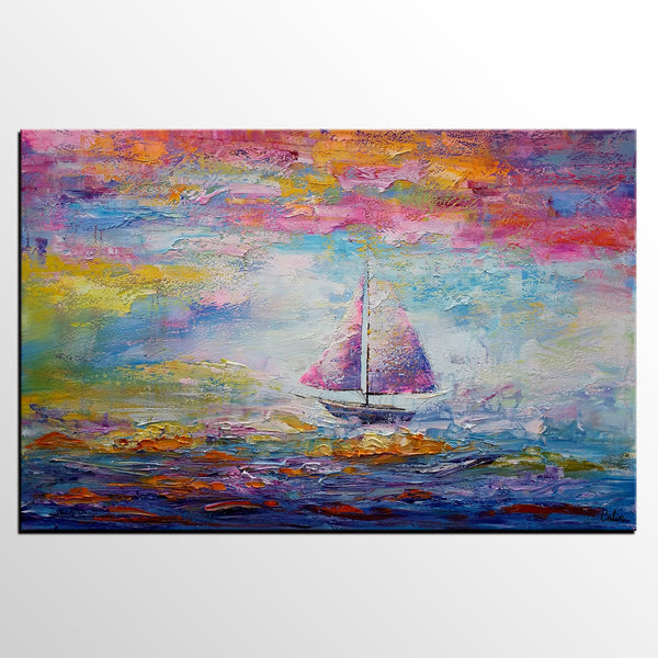 Sail Boat Painting, Large Art, Canvas Painting, Large Painting, Canvas Art, Wall Art, Abstract Art, Abstract Painting, Landscape Painting - artworkcanvas