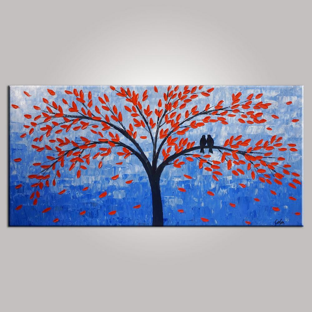 Singing Birds Painting, Bedroom Wall Art, Tree Painting, Abstract Painting, Abstract  Art