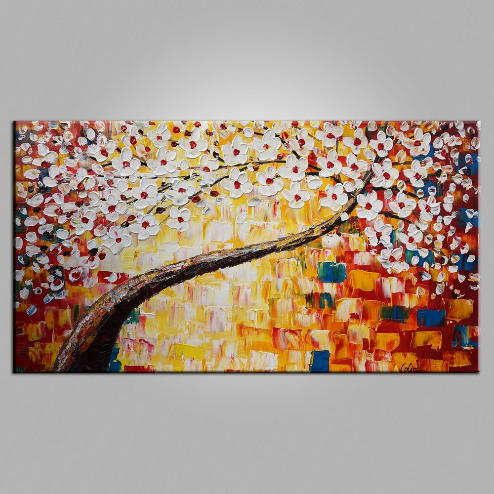 Kitchen Wall Art, Tree Painting, Flower Painting, Heavy Texture Art, Canvas Art, Wall Art, Original Artwork, Impasto Painting, 448 - artworkcanvas