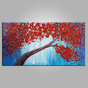 Tree Painting, Flower Painting, Heavy Texture Art, Bedroom Wall Art, Canvas Art, Wall Art, Original Artwork, Impasto Painting, 449 - artworkcanvas