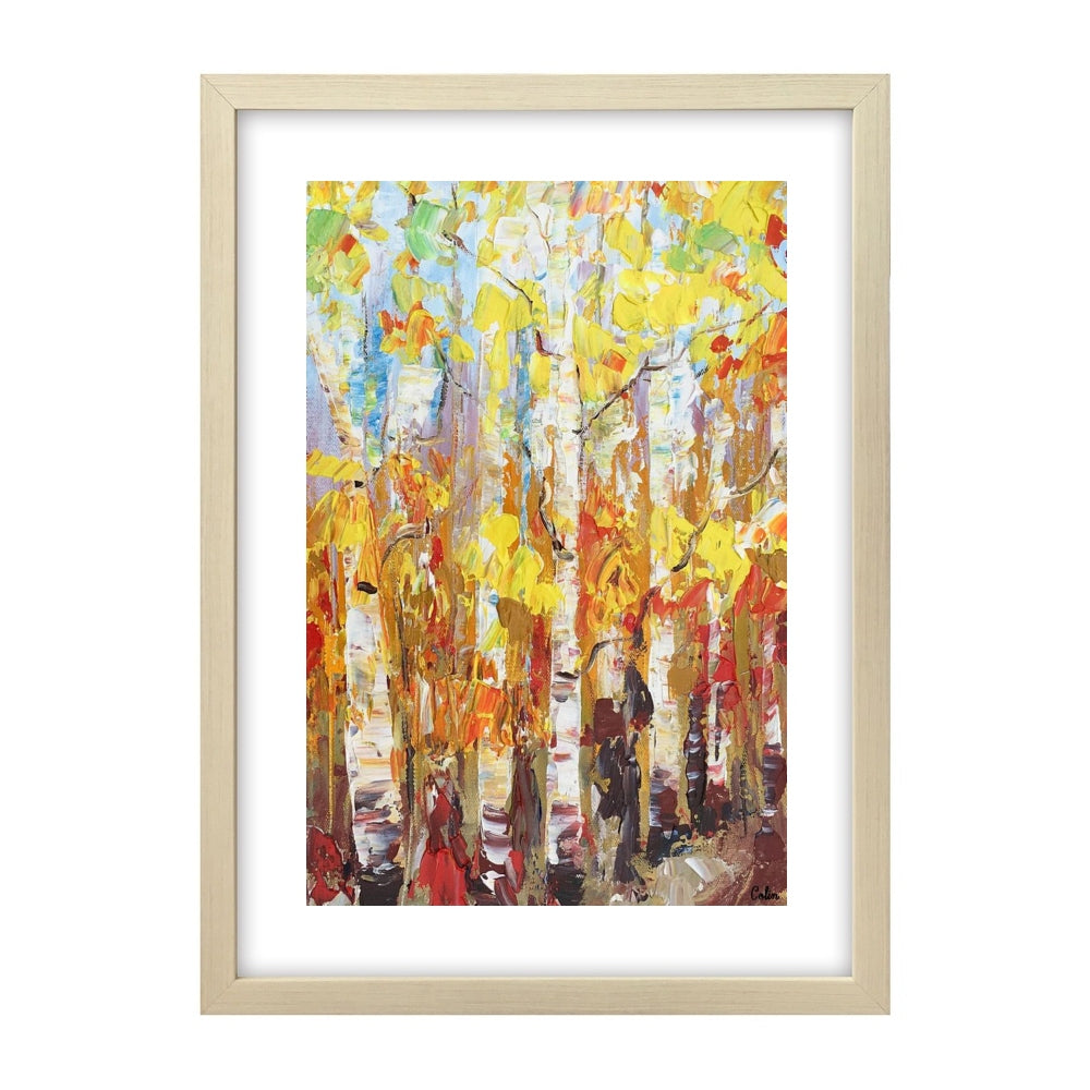 Small Painting, Heavy Texture Oil Painting, Birch Tree Painting, Abstract Painting - artworkcanvas