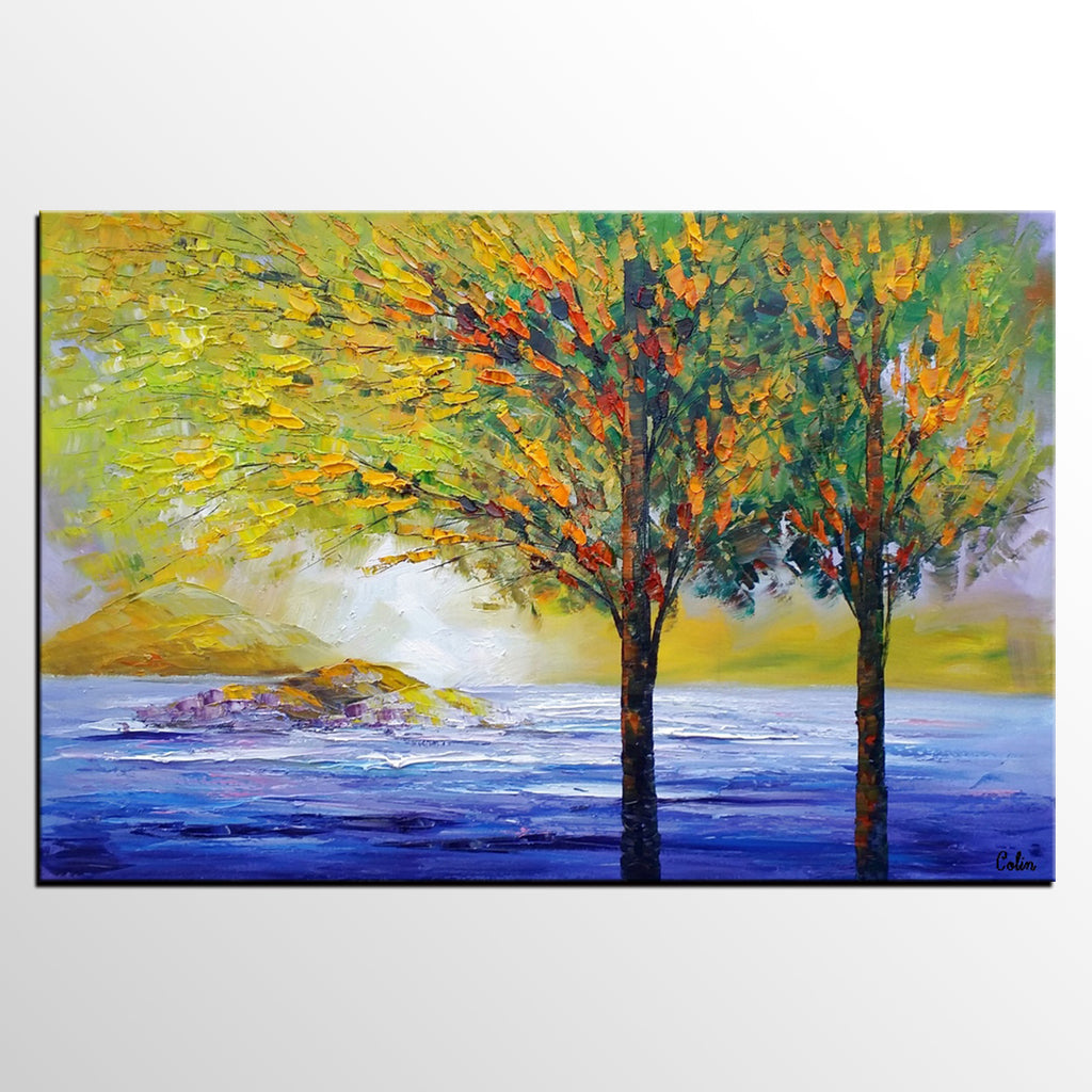 Tree Landscape Painting, Wall Painting, Large Canvas Wall Art ...