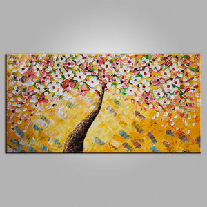 Heavy Texture Art, Flower Painting, Tree Painting, Kitchen Wall Art, Canvas Art, Wall Art, Abstract Artwork, Impasto Art, 451