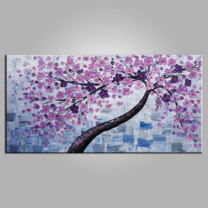 Flower Tree Painting, Original Painting, Heavy Texture Art, Canvas Painting, Oil Painting for Sale