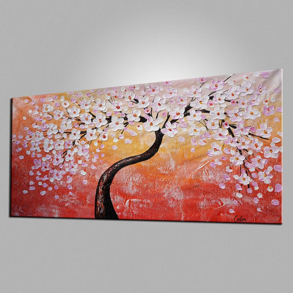 Original Painting, Flower Tree Painting, Heavy Texture Art, Original Art, Abstract Painting - artworkcanvas
