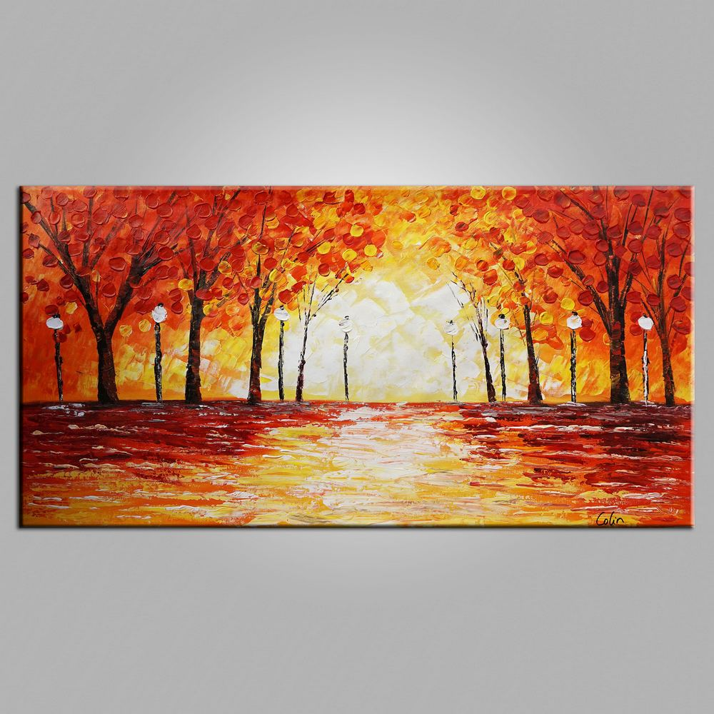 Original Wall Art, Autumn Tree Painting, Landscape Painting, Large Art, Canvas Art, Wall Art, Bedroom Artwork, Canvas Painting, 459