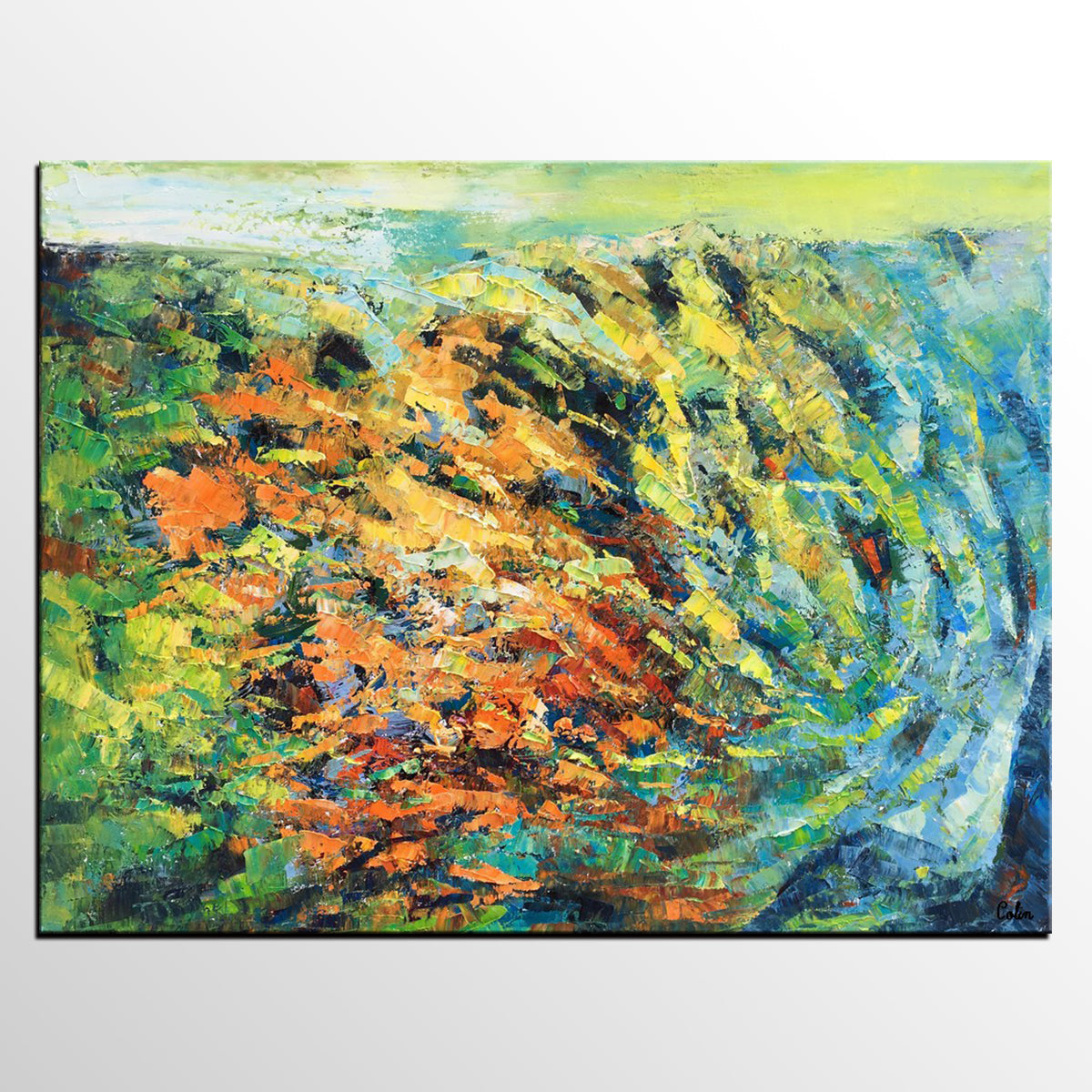 Canvas Art, Oil Painting, Living Room Wall Art, Abstract Landscape Painting
