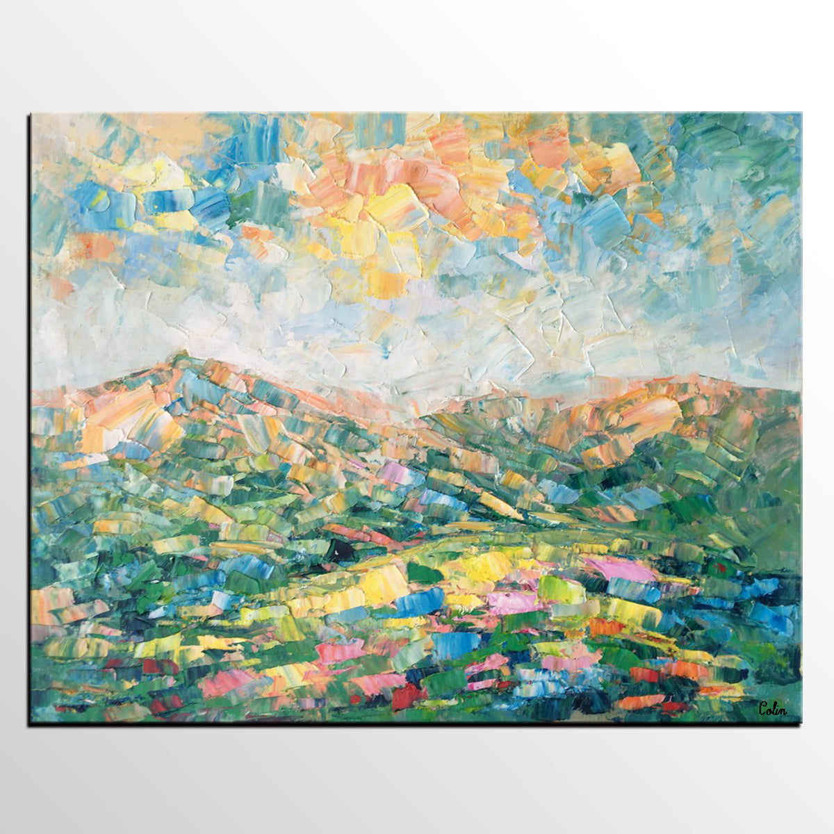 Abstract Mountain Landscape Art, Large Wall...