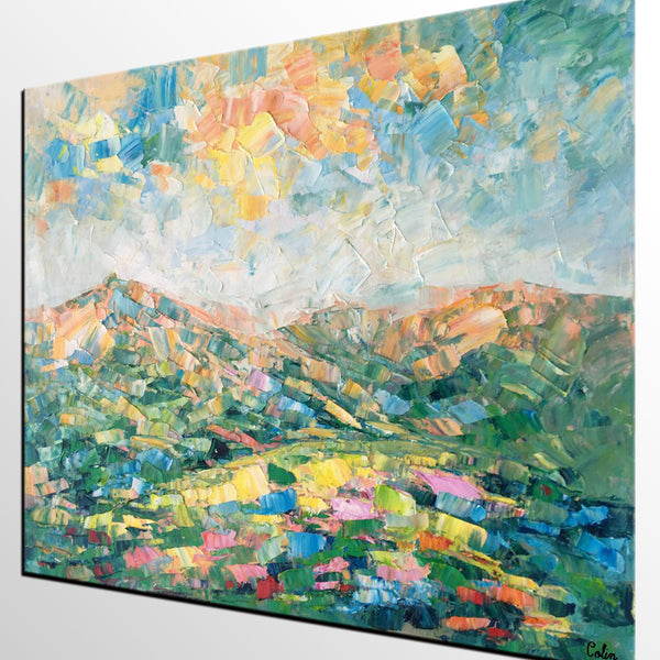 Abstract Mountain Landscape Art, Large Wall Art, Canvas Painting, Landscape Painting, Wall Art, Living Room Art, Original Oil Painting - artworkcanvas