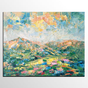 Abstract Mountain Landscape Art, Large Wall Art, Custom Canvas Painting, Landscape Painting, Wall Art, Living Room Art, Original Oil Painting - artworkcanvas