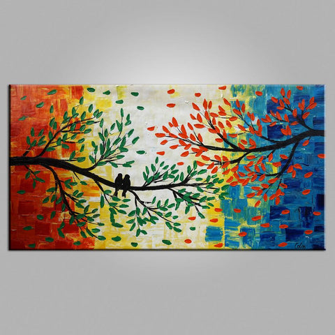 Original Wall Art, Love Birds Painting, Original Painting, Wedding Gift, Canvas Art, Wall Art, Bedroom Artwork, Canvas Painting, 460
