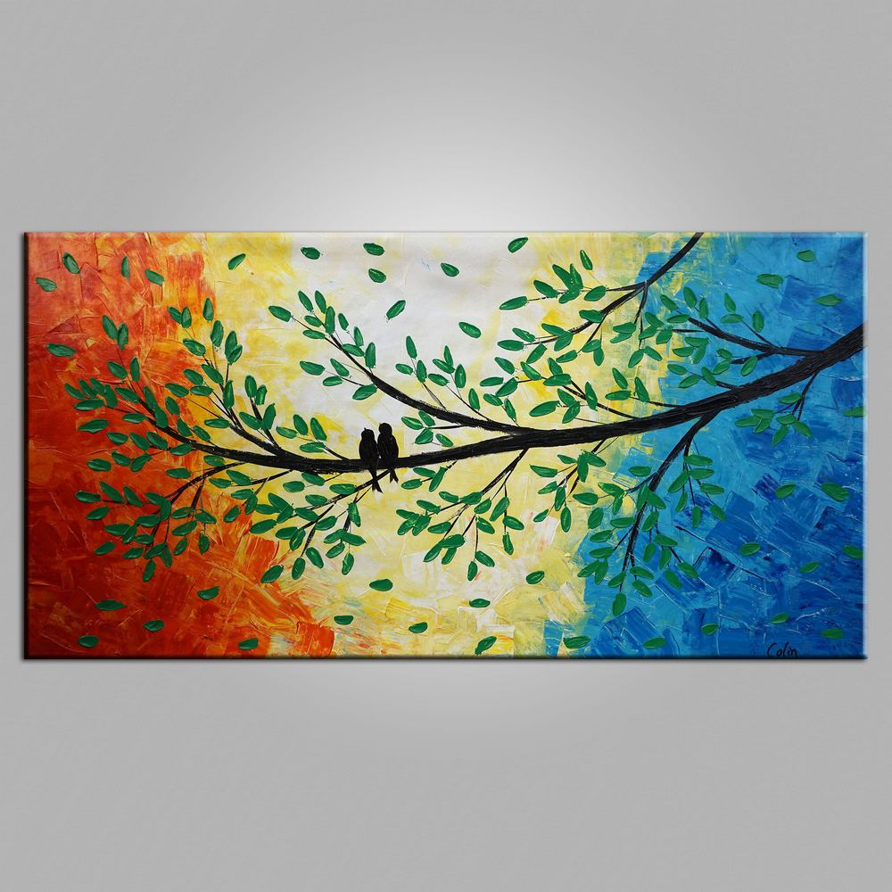 Canvas Art, Original Wall Art, Love Birds Painting, Original Painting, Wedding Gift, Wall Art, Bedroom Artwork, Canvas Painting, 461
