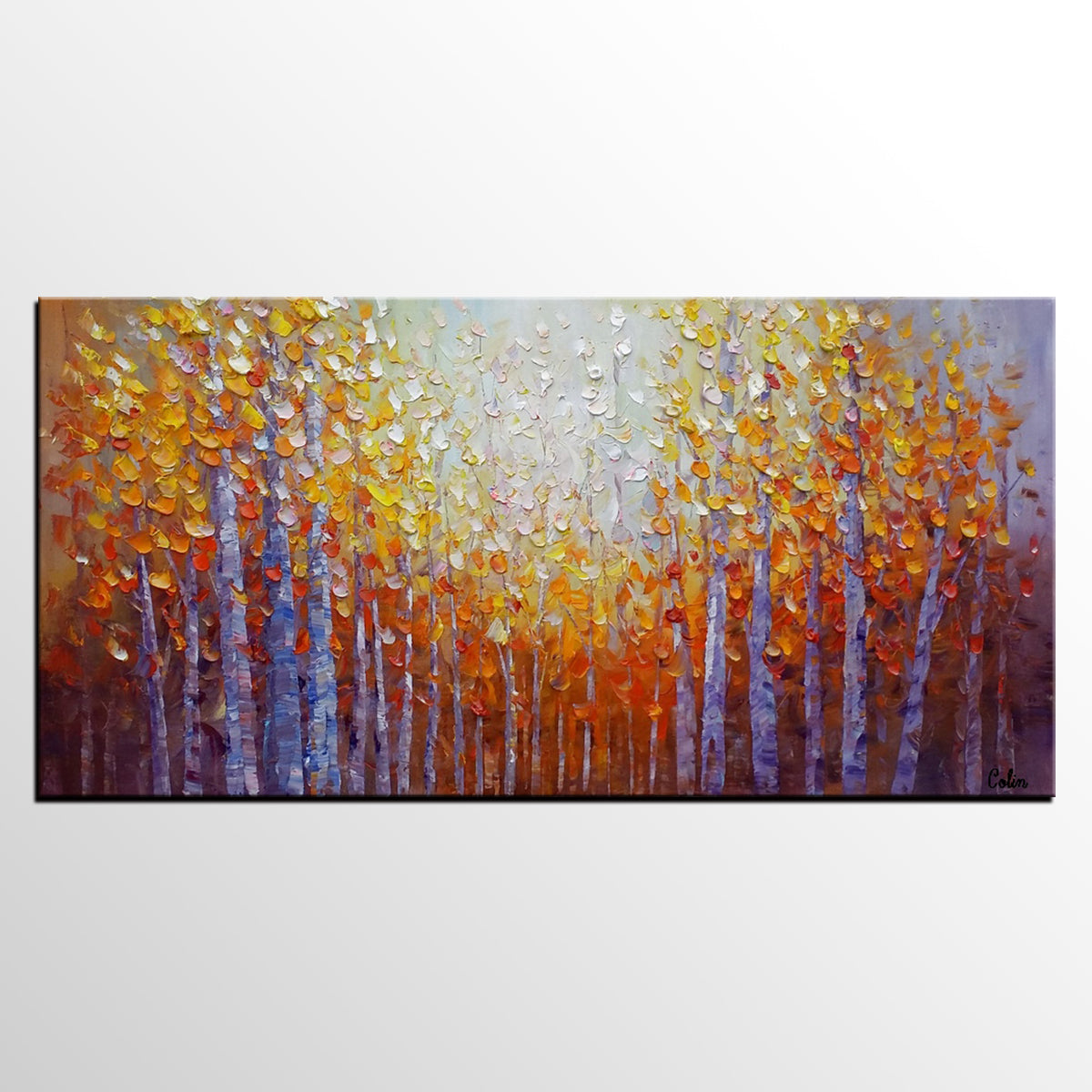 Dining Room Wall Art, Abstract Art, Original Art, Autumn Tree Painting, Abstract Painting, Large Art, Canvas Art, Oil Painting for Sale