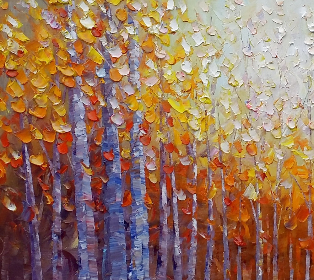 Dining Room Wall Art, Autumn Tree Painting, Abstract Painting, Large Art, Oil Painting for Sale