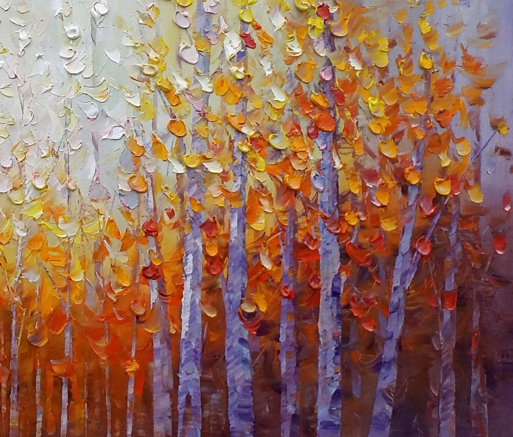 Dining room wall art autumn tree painting abstract for Dining room paintings sale
