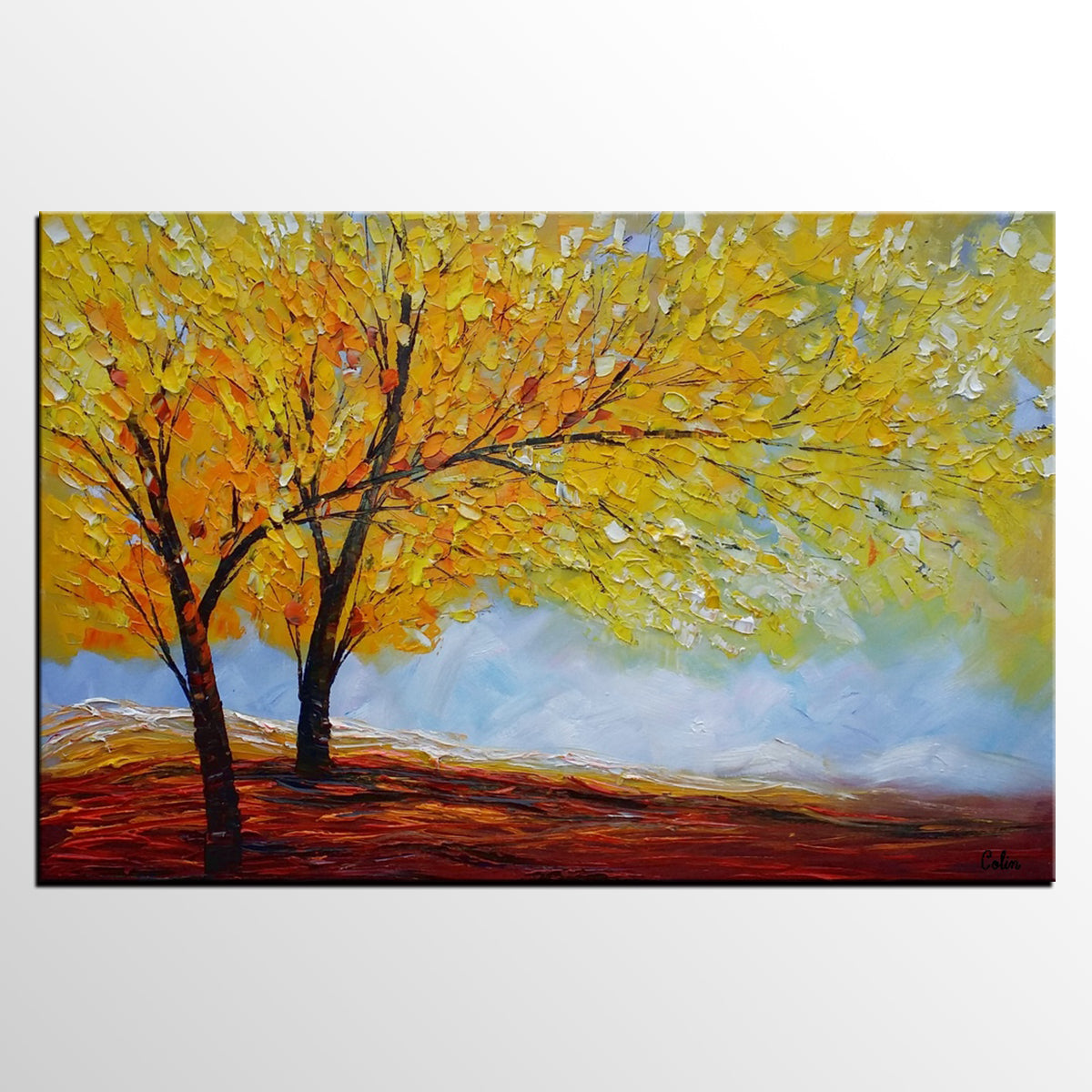 Original Painting, Art Painting, Autumn Tree Painting, Landscape Painting, Wall Art, Oil Painting, Canvas Wall Art, Abstract Art, Large Art