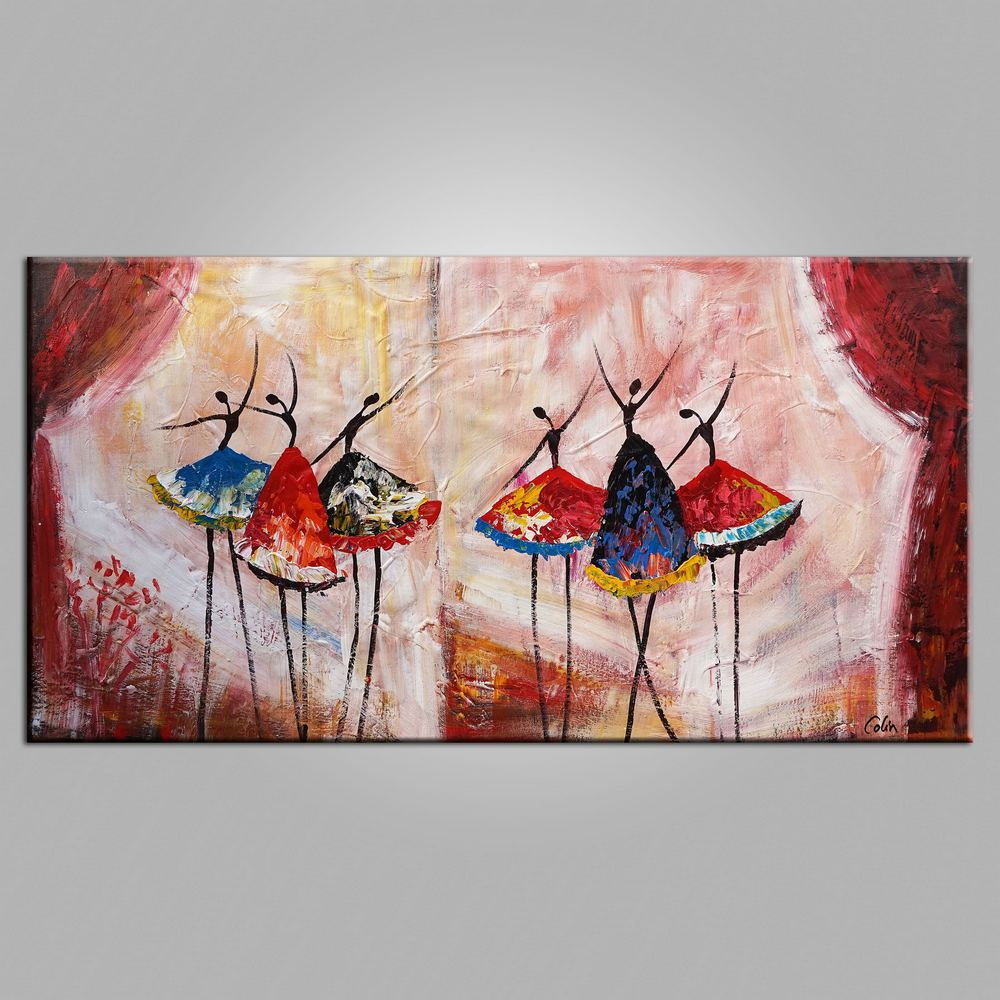 Large Painting, Bedroom Wall Art, Ballet Dancer Painting, Abstract Art,  Canvas Art