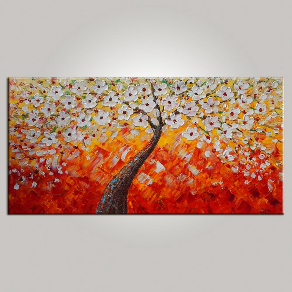 tree painting, dining room wall art, flower painting, abstract