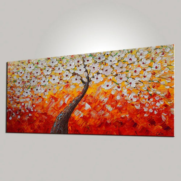 Tree Painting, Dining Room Wall Art, Flower Painting, Abstract Painting, Large Art, Canvas Art, Wall Art, Abstract Art, Canvas Painting, 471