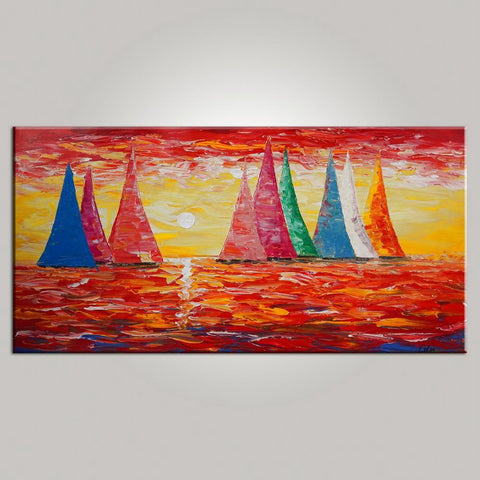 Sail Boat Painting, Large Wall Art, Sunset Painting, Large Art, Canvas Art, Wall Art, Original Artwork, Art on Canvas 472 - artworkcanvas