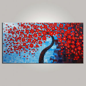 Abstract Art, Bedroom Wall Art, Tree Painting, Flower Painting, Abstract Painting, Large Art, Canvas Art, Abstract Art, Heavy Texture Art, 474 - artworkcanvas