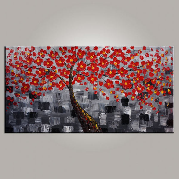 Abstract Art, Tree Painting, Flower Painting, Livingroom Wall Art, Abstract Painting, Large Art, Canvas Art, Abstract Art, Heavy Texture Art, 475 - artworkcanvas