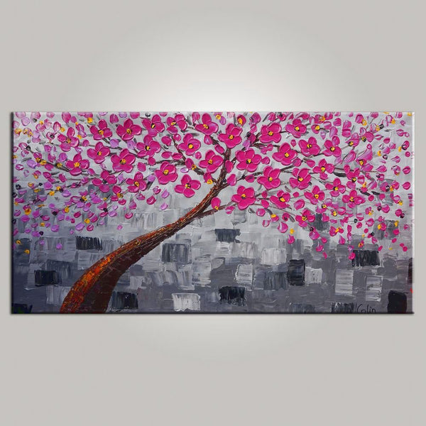 Abstract Art, Tree Painting, Floral Painting, Livingroom Wall Art, Abstract Painting, Large Art, Canvas Art, Abstract Art, Heavy Texture Art, 476 - artworkcanvas