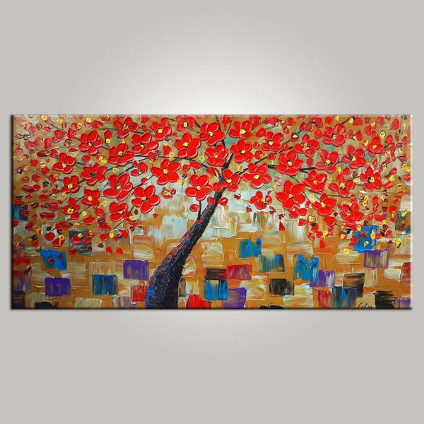 Abstract Art, Flower Tree Painting, Floral Painting, Livingroom Wall Art, Abstract Painting, Large Art, Canvas Art, Abstract Art, Impasto Art, 477