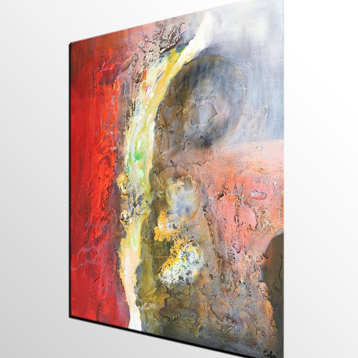 Wall Art Canvas Red : Canvas art red abstract modern wall