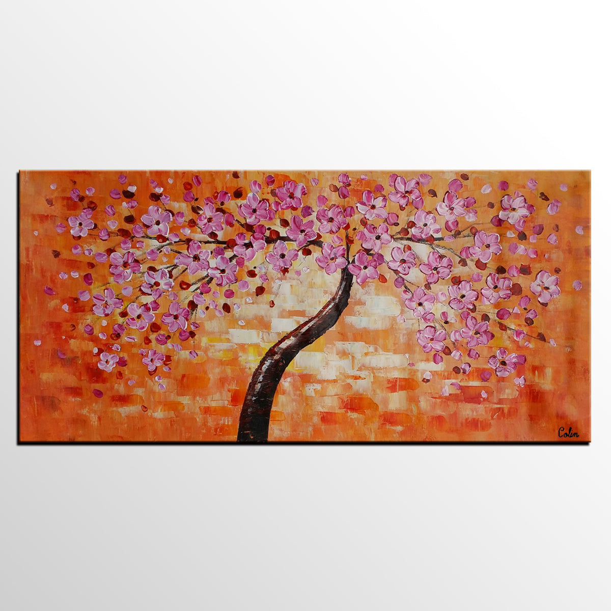Canvas Art, Flower Tree Painting, Acrylic A...