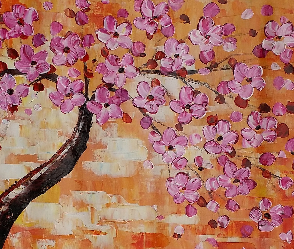 Canvas Art, Flower Tree Painting, Acrylic Art, Wall Art, Original Artwork