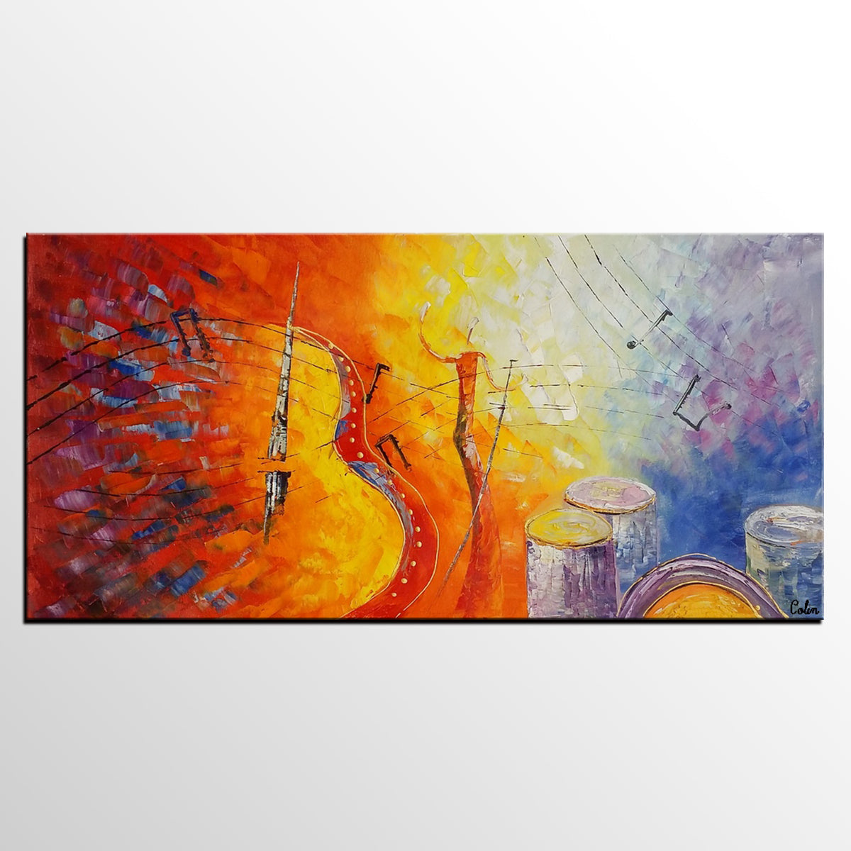 Canvas Painting, Abstract Art, Violin Music...