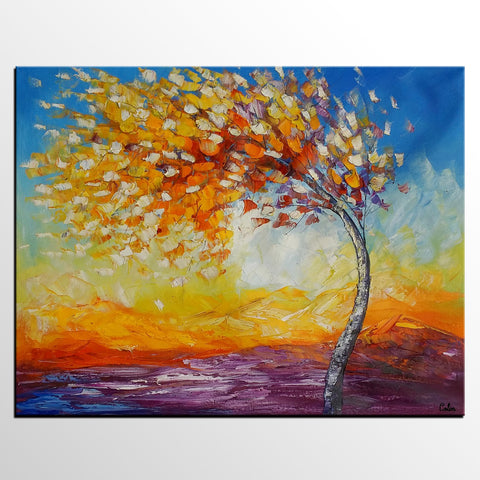 Landscape Painting, Autumn Tree Painting, Oil Painting, Canvas Artwork, Original Painting