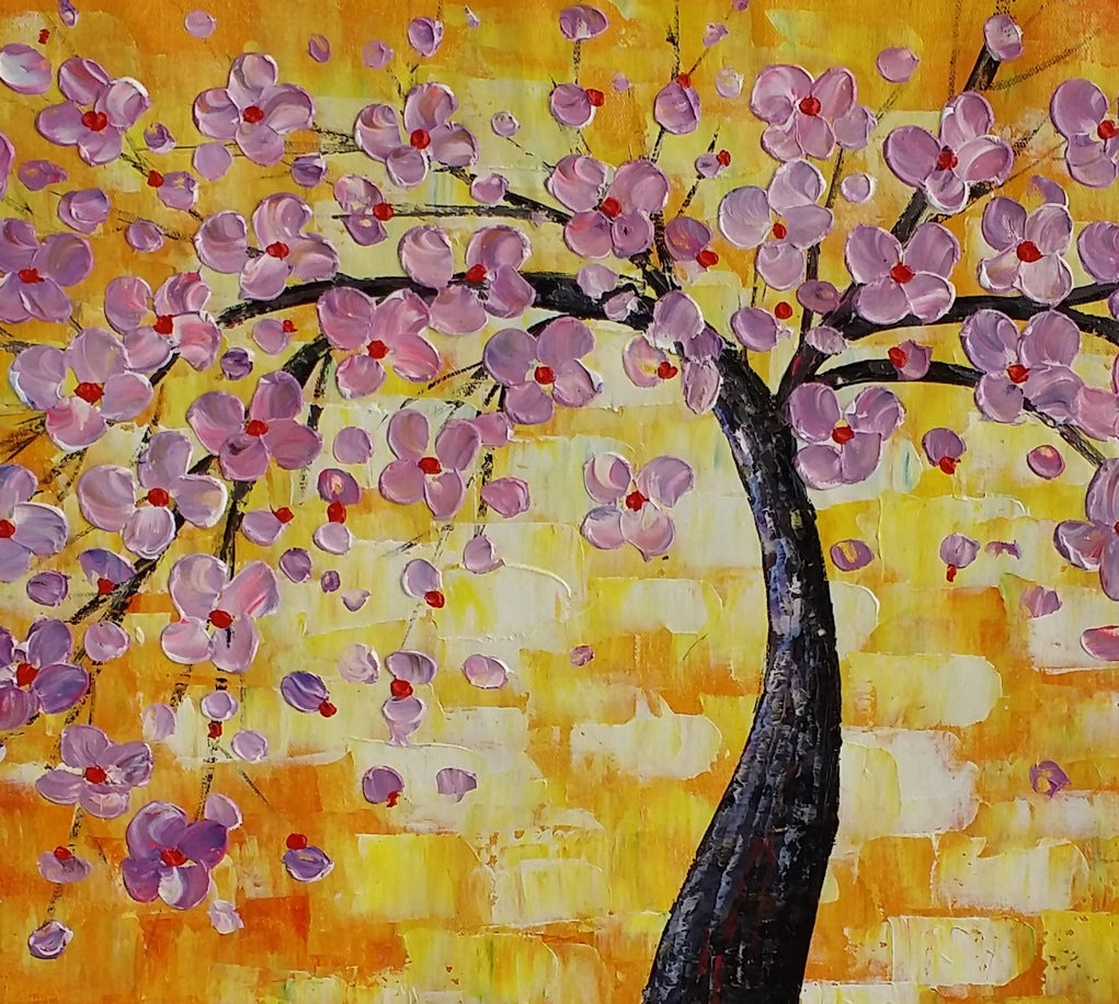 Floral Painting, Flower Tree Painting, Abstract Painting, Canvas Art, Impasto Art