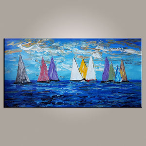 Original Wall Art, Sailing Boat Painting, Seascape Painting, Wall Art, Large Artwork, Canvas Painting, Modern Art, Art on Canvas 481 - artworkcanvas