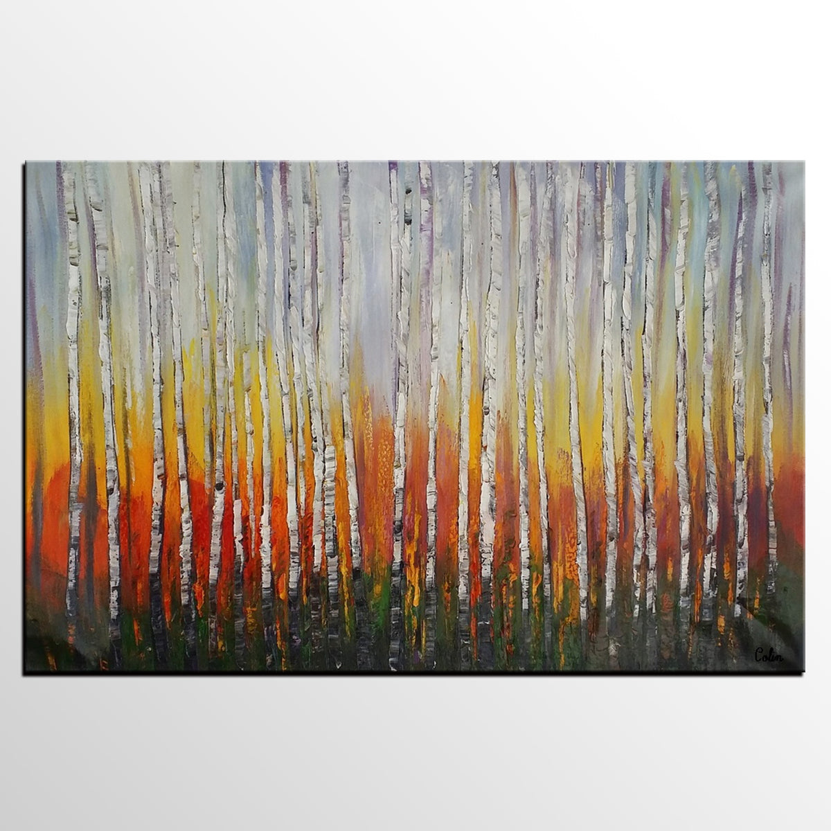 Original Painting, Abstract Painting, Birch Tree Painting, Large Art, Canvas Art