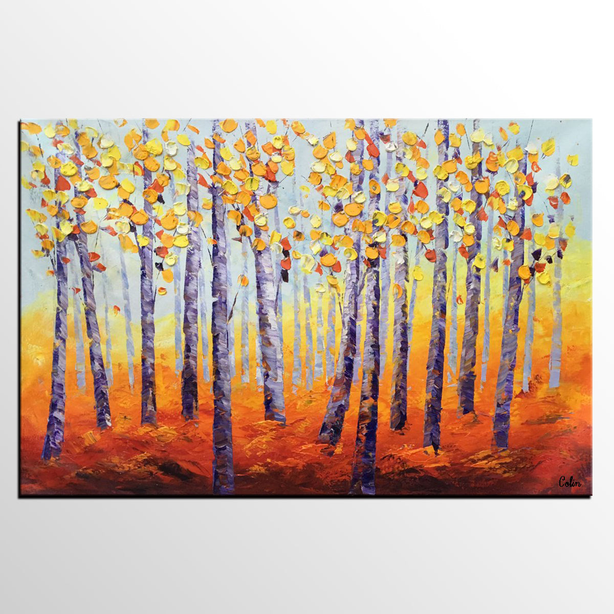Tree Painting, Abstract Painting, Large Landscape Art, Canvas Art