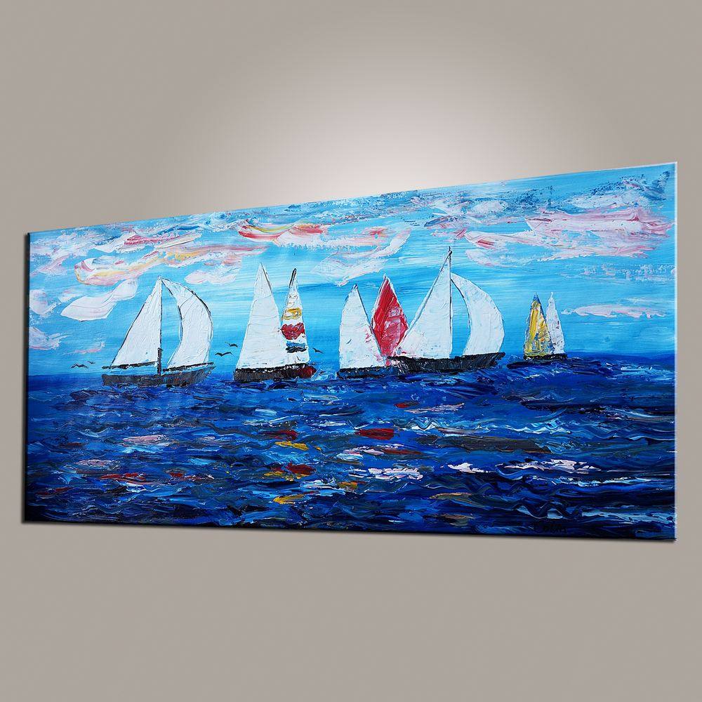 Sailing Boat Painting, Original Wall Art, Seascape Painting, Wall Art, Canvas Artwork, Canvas Painting, Modern Art, Art on Canvas 482