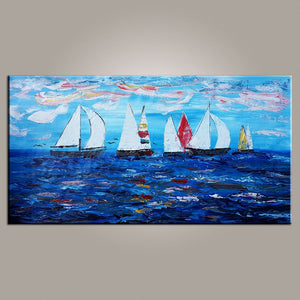 Sailing Boat Painting, Original Wall Art, Seascape Painting, Wall Art, Canvas Artwork, Canvas Painting, Modern Art, Art on Canvas 482 - artworkcanvas