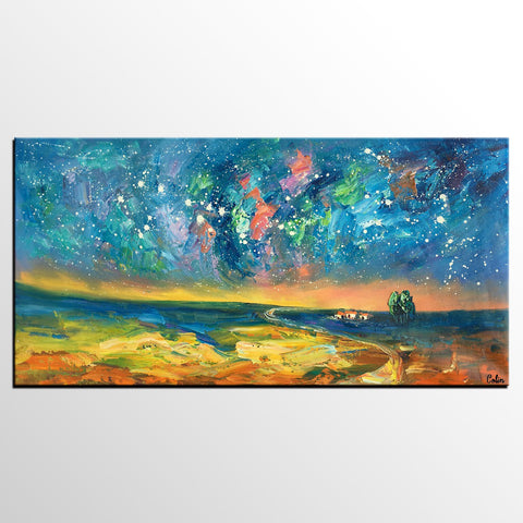 Abstract Art, Starry Night Sky Oil Painting, Modern Art, Canvas Art