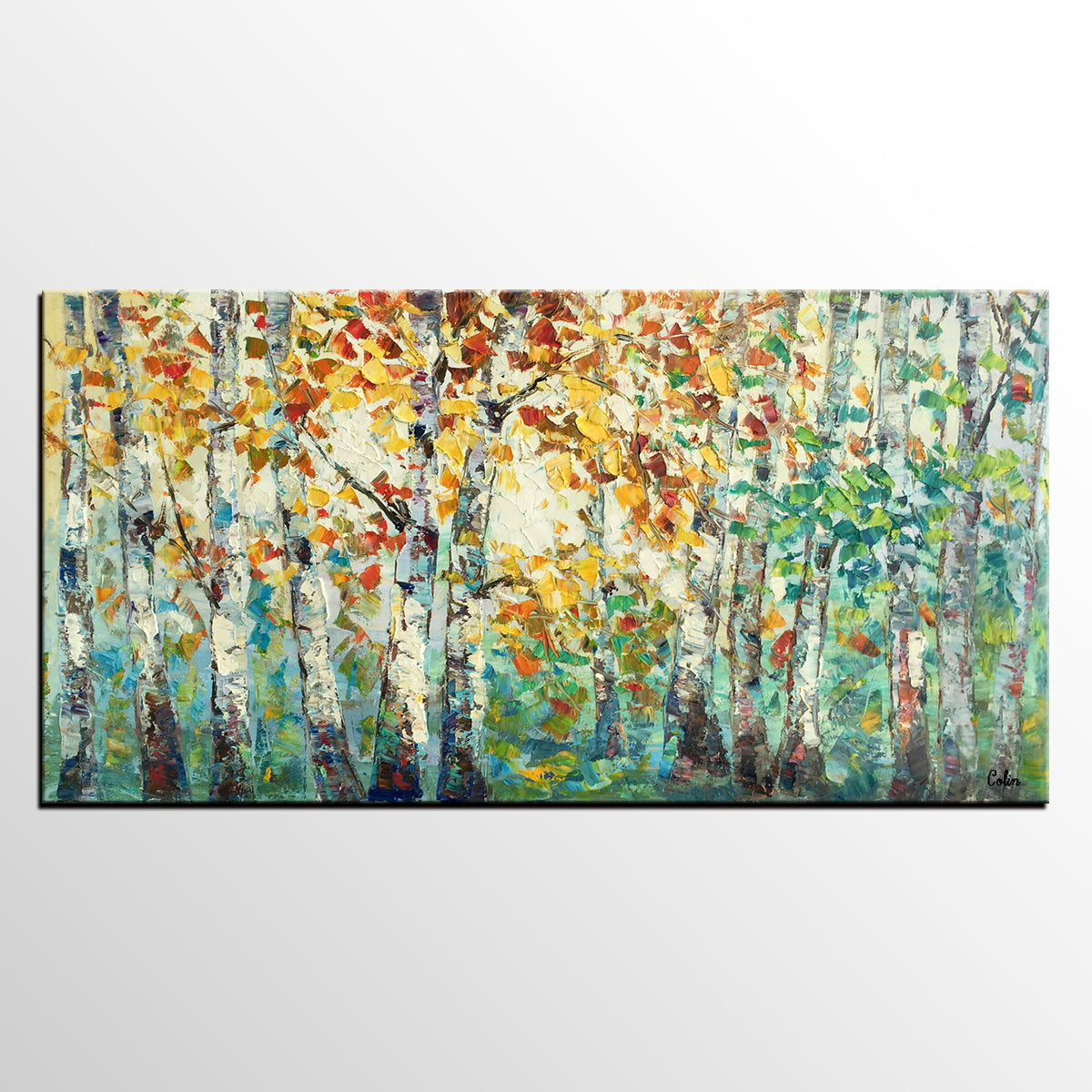 Abstract Art for Sale, Autumn Tree Landscape Painting, Contemporary Artwork
