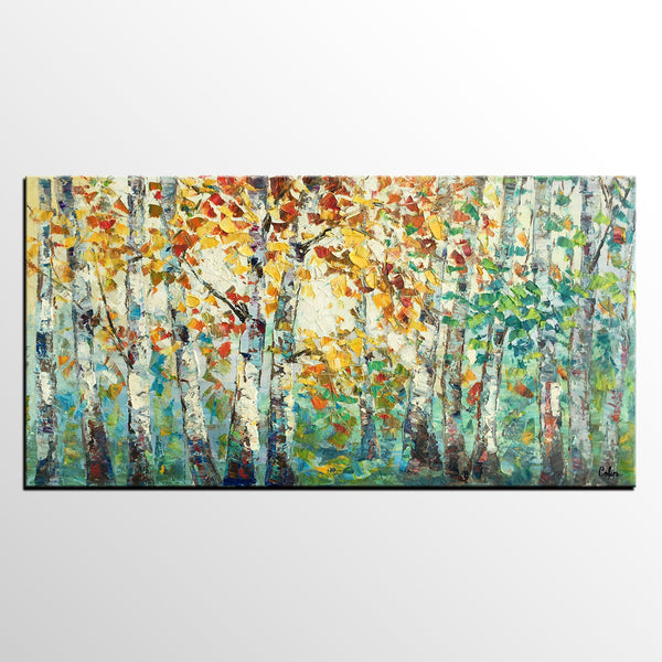 Autumn Tree Landscape Painting, Abstract Art for Sale, Abstract Autumn Paintings