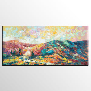 Canvas Painting, Mountain Landscape Painting, Large Canvas Art, Wall Art