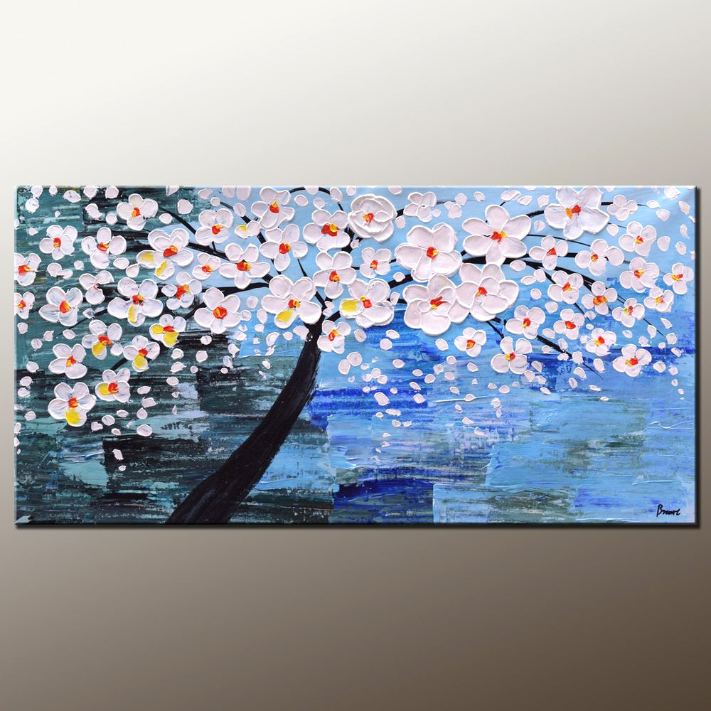 Abstract Painting, Canvas Art, Flower Tree ...