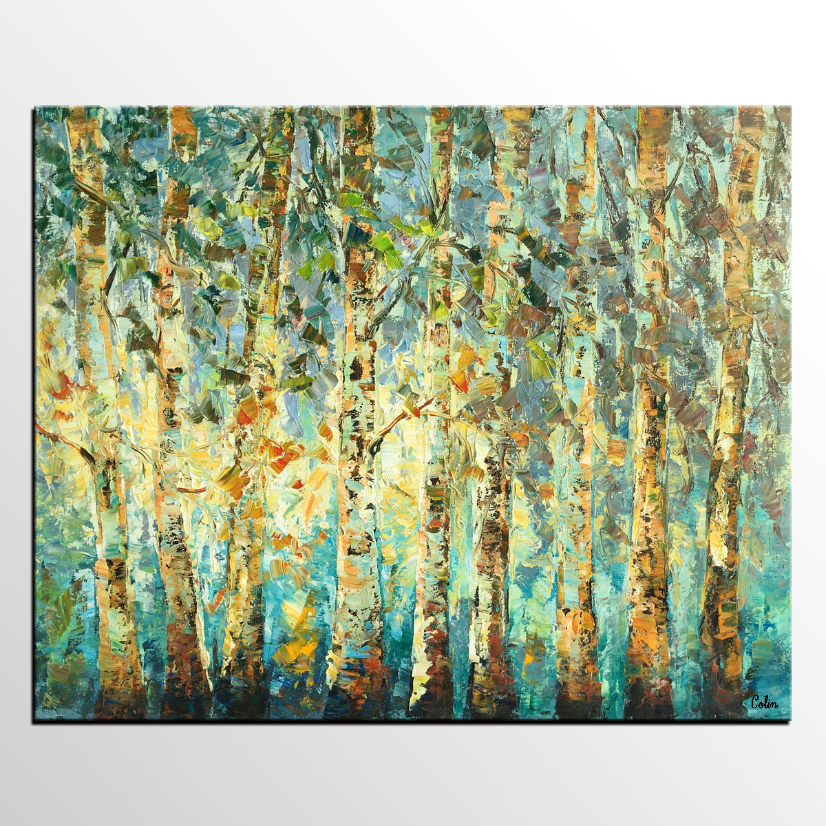 Abstract Art, Tree Landscape Painting, Oil ...