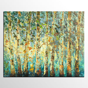Abstract Art, Tree Landscape Painting, Oil Painting, Heavy Texture Painting